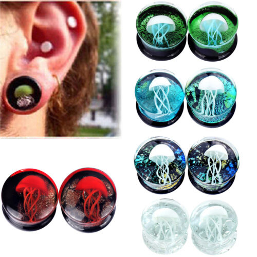 Pair Jellyfish Glass Stone Ear Gauges Stretching Plugs 0g-5/