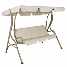 2-Person Outdoor Lg Convertible Canopy Swing Glider w/ Removable Cushions -Beige