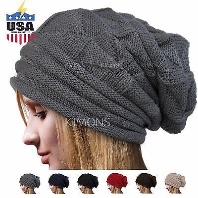 5d22f638b904d8 Knit Men's Women's Baggy Beanie Oversize Winter Hat Ski Slouchy Chic Cap  Skull