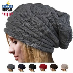 Knit-Men-039-s-Women-039-s-Baggy-Beanie-Oversize-Winter-Hat-Ski-Slouchy-Chic-Cap-Skull