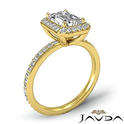 Halo Emerald Diamond Vinatge Engagement Ring GIA Certified H SI1 Platinum 2 ct 7