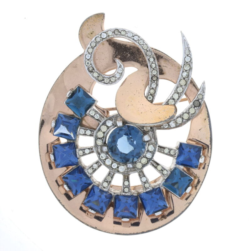 Sterling Rhinestone Vintage/Retro Swirl Brooch 925 Rose Gold Plated Abstract Pin