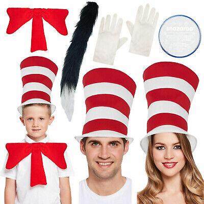 Katze im Hut Kostüm für Kinder Erwachsene Verrücktes - Katze Im Hut Buch Kostüm