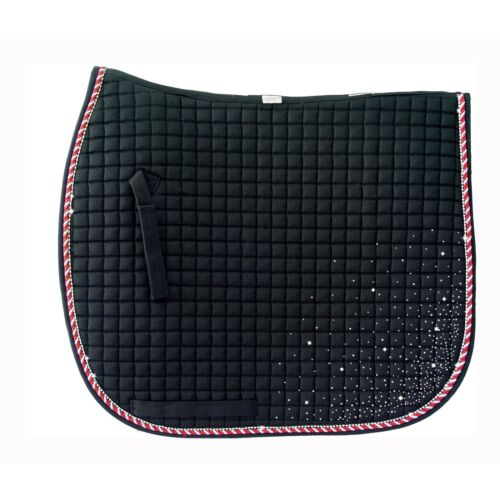 PRI Quilted Dressage Pad with Rhinestone Accent Cord and Rhinestone Corners