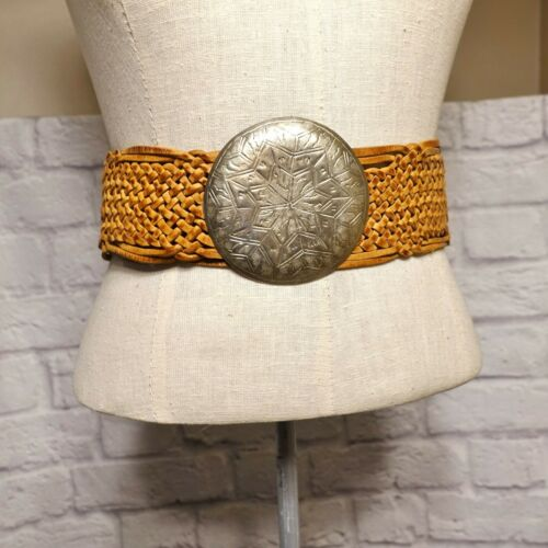 Vintage Moroccan Wide Leather Belt Braided Woven w/ Large Silver Engraved Buckle