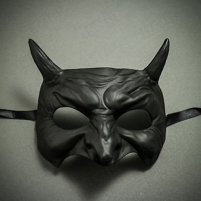 BLACK Devil with Horn Goblin Half Face Halloween Party Mask Costume Masquerade](New Goblin Costume)