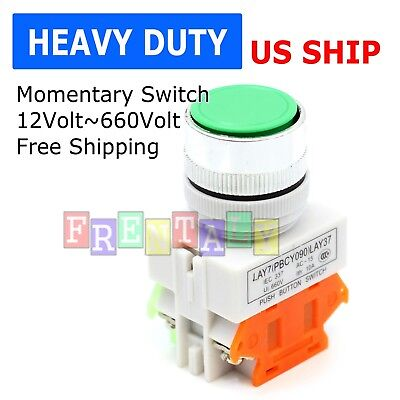 Us Stock Green Round Cap Momentary Push Button Switch Lay37-11bn Y090-11bn 22mm