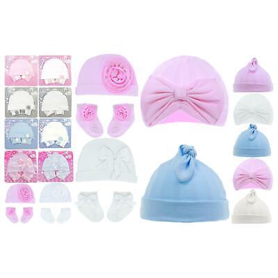 Baby Mädchen Hüte Bogen Turban Mützen Pom Pom - Baby Junge Mütze Hüte