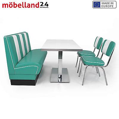 American Diner Sitzgruppe Turkis Sitzbank Viber 120cm Diner Tisch