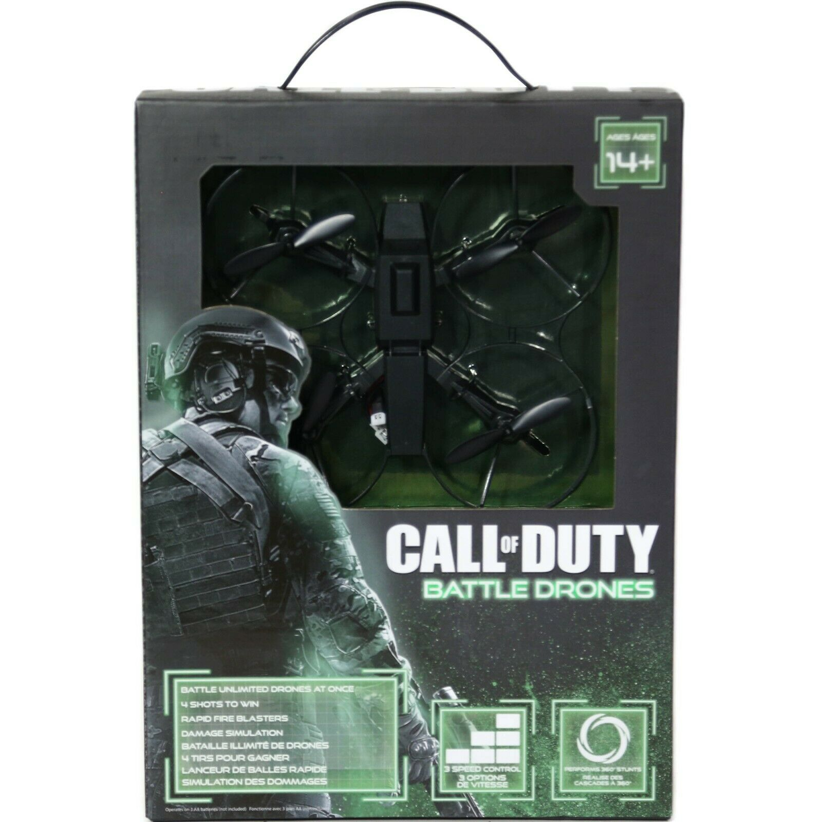 Call of Duty Battle Drone Aerial Black 360 Flip Roll Turn Toy Brand New Sealed