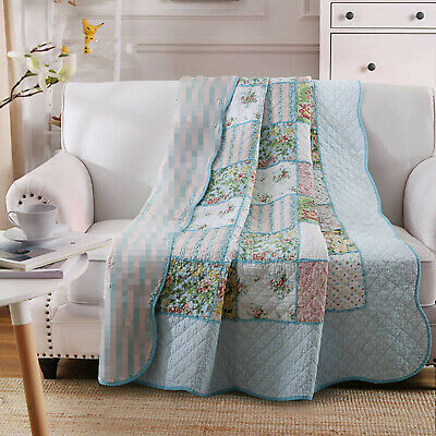 Organic Cotton Blue Froral Printed Throw Blanket Patchwork Jacquard Quilt  US ()