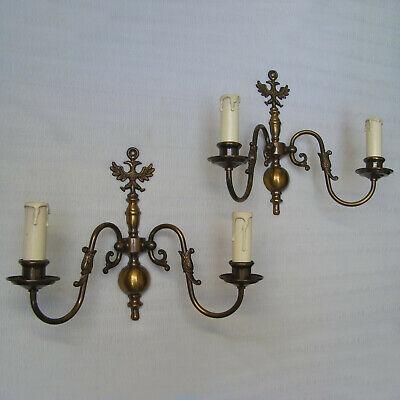 ANTIQUE PAIR DUTCH FLEMISH BRASS WALL LAMP SCONCES 2 LIGHTS EAGLE VINTAGE
