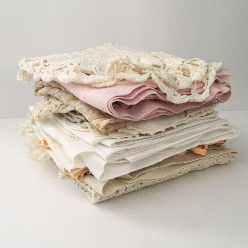 Vintage Linens Lot Embroidered Tablecloths Doilies Dresser Scarves Cutters Lot