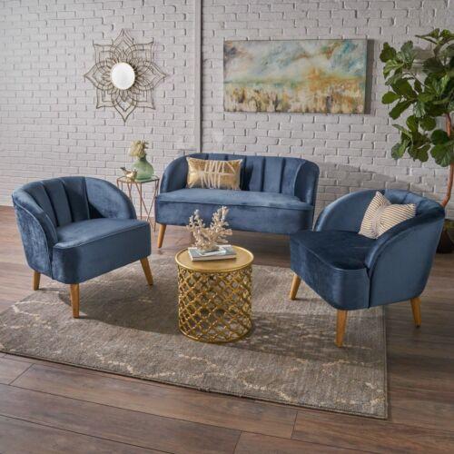Scarlett Modern New Velvet 3 Piece Settee Club Chair Set Furniture