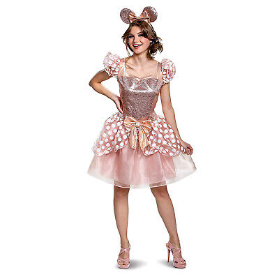 Adult Women's Disney Minnie Mouse Gold Rose Pink Halloween Costume Dress + Ears