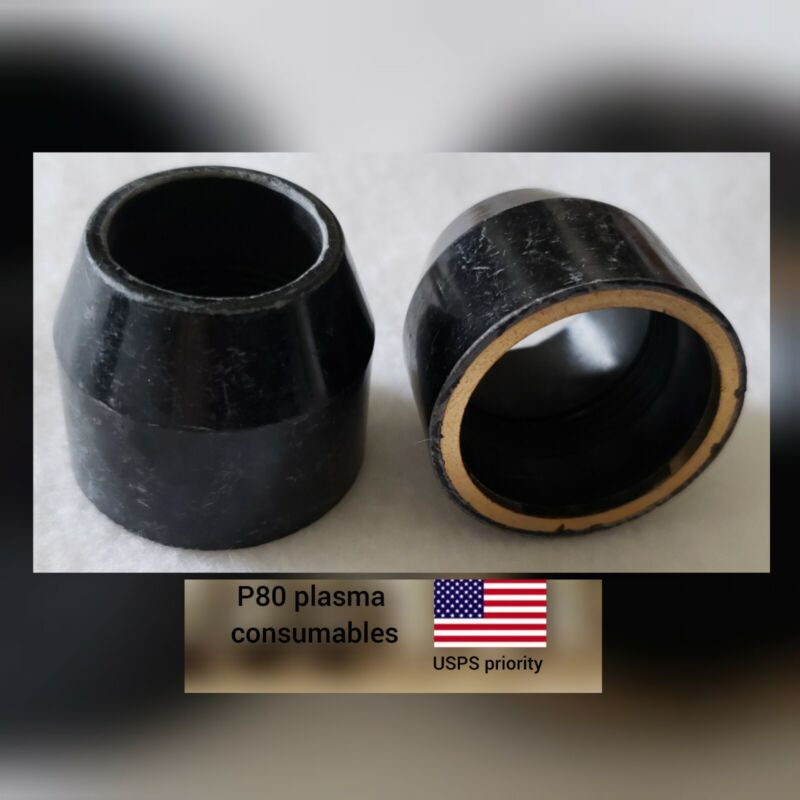 P80 Plasma Torch 60A Consumables 2 Pcs Set P80 SHIEDED CUP-USPS priority SHIP