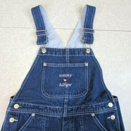 Vintage 90s Tommy Jeans Hilfiger Youth Size L Denim Bib Overalls Flag Carpenter