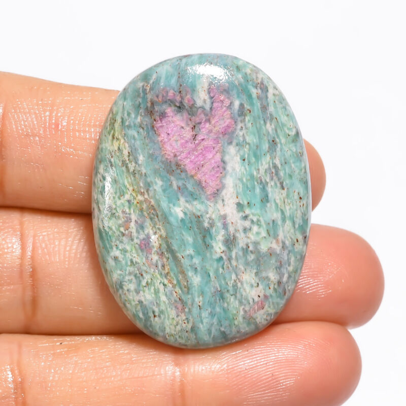 Natural Ruby Fuchsite Oval Cabochon Loose Gemstone 50.5 Ct. 36X27X6 mm EE-19085