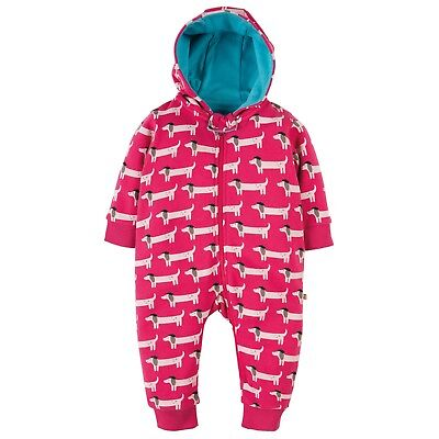 Frugi Baby's Snuggle Suit in Raspberry with Beret Dog Print for 6-12 Months