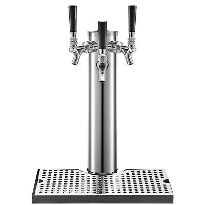 Vevor 3 Faucets Draft Beer Tower Drip Tray Homebrew Stainless Steel Kegerator