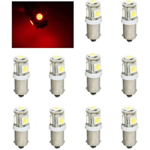 (10) Red 5-LED Dash Instrument Panel Cluster Gauge Clock Glove Box Light Bulbs