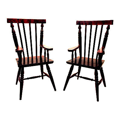 "2 Windsor Style Wood Doll Chair With Arms (for 12-14"" Doll) BROWN 11.75"""