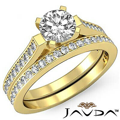 4 Prong Bridal Set Round Diamond Engagement Ring GIA F Color VS2 Clarity 1.57Ct 9