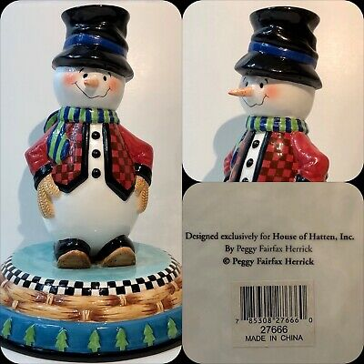 House Of Hatten Large Snowman Candle Holder Peggy Fairfax Herrick - Rare + VGC