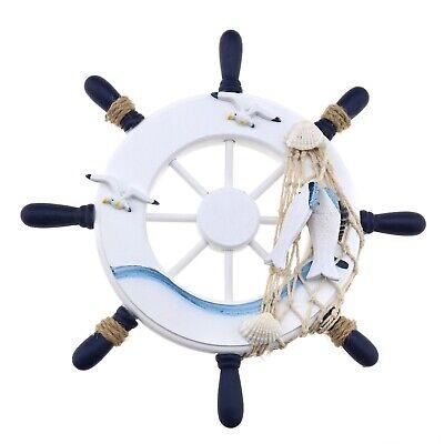 Diy Nautical Decor (Ship Steering Wheel 23x23cm Wooden for Ship Beach Home DIY Decor Style)