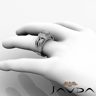 3 Row Shank Radiant Diamond Engagement Pave Ring GIA G Color SI1 Clarity 2.7 Ct 4