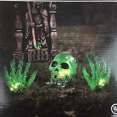 Halloween Skull Hands Green Light 3 Piece Set Skeleton Indoor Outdoor Yard Decor