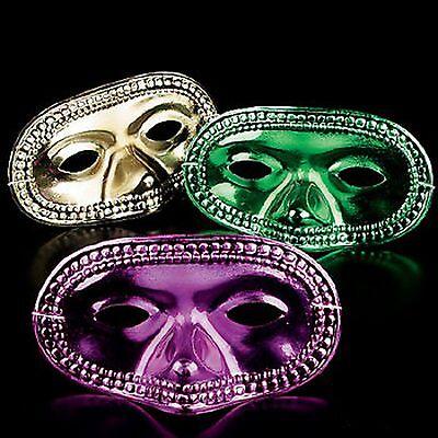 Mardi Gras Coloring Masks (3 Mardi Gras Masks Metallic Half Masks GREEN GOLD PURPLE COLORS Party)