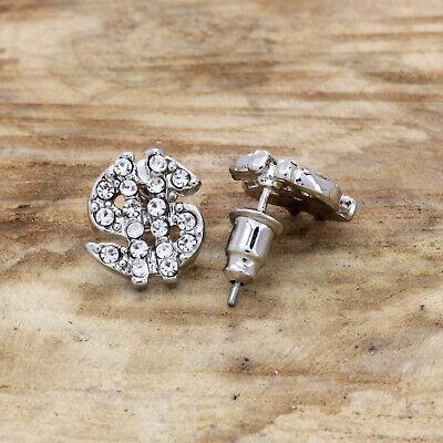 Men's 14k Silver Plated Cz Money Sign 11mm x 15mm  Hip Hop Earrings