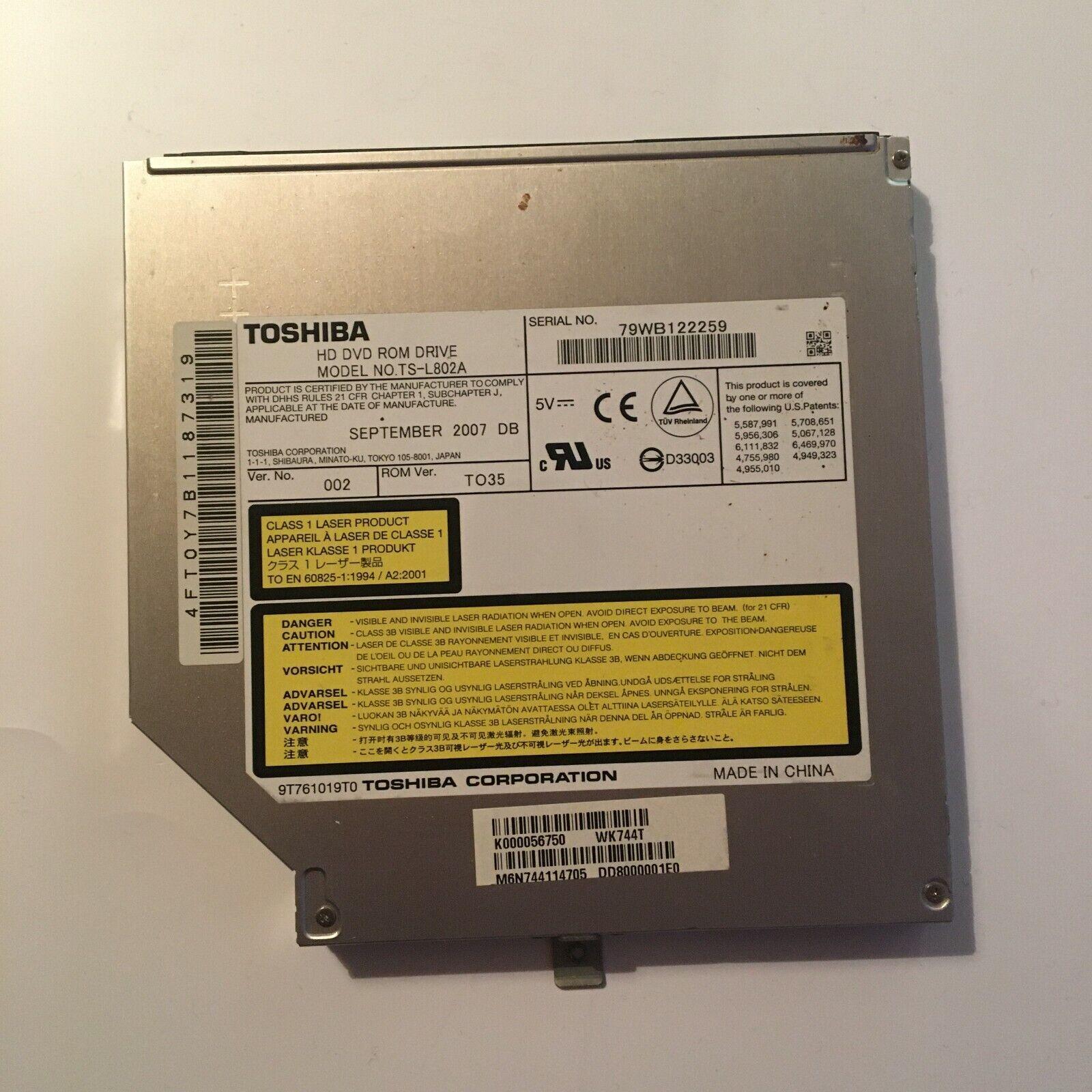 Graveur/lecteur cd et dvd ide interne toshiba ts-l802a pour pc portable