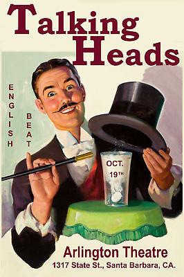 New Wave: Talking Heads & English Beat  at Santa Barbara Poster 1980  12x18