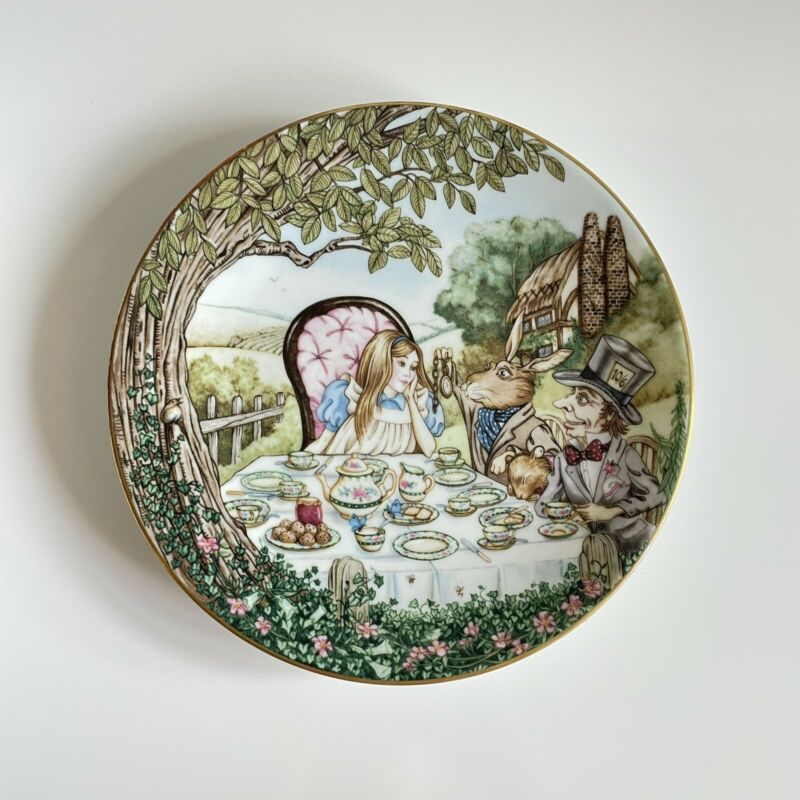 Vintage Alice in Wonderland Alice and the Hatter Limoge Plate by Georges Boyer
