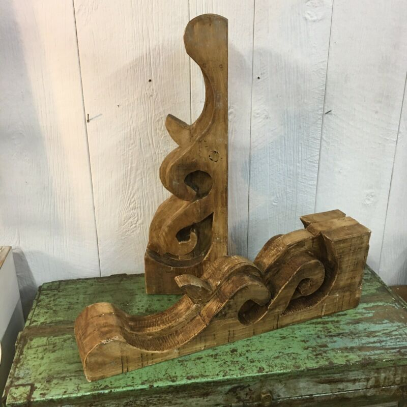 Pair Of Large Victorian Style Architectural  Wood Corbels Farmhouse Shic