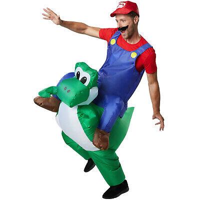 Costume Gonfiabile Adulti Super Mario Luigi Festa Halloween Carnevale Cosplay