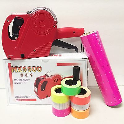 Mx-5500 Eos 8 Digits Price Tag Gun Labeler Labeller 5000 Pink Labels 1 Ink