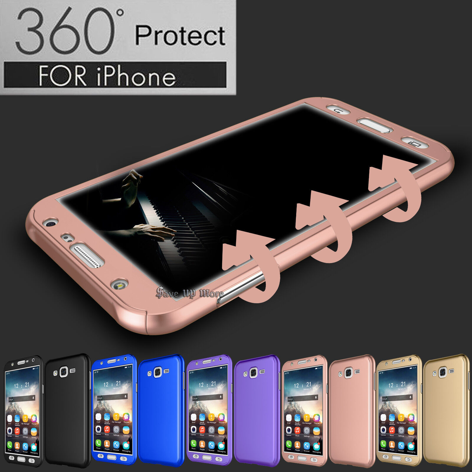 For Samsung Galaxy J7/J700 360° Full Protection Hard Case Cover + Tempered Glass Cases, Covers & Skins