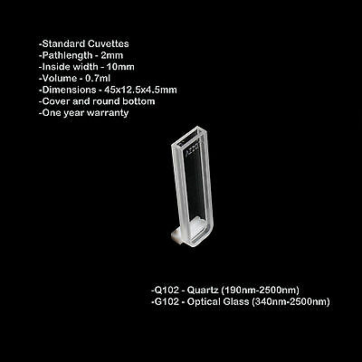 Azzota 2mm Pathlength Quartz Cuvettes - 0.7ml