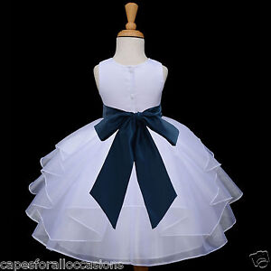 NEW-WHITE-WEDDING-FLOWER-GIRL-DRESS-PAGEANT-BRIDESMAID-ORGANZA-6M-18M-2-4-6-8-10