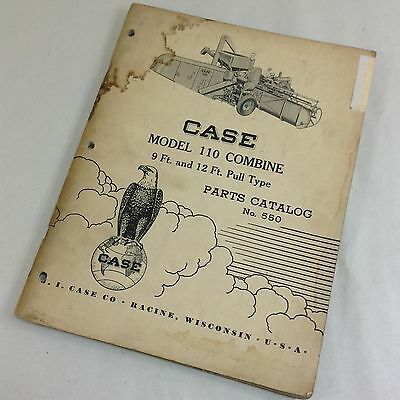 J I Case Model 110 Combine 9ft 12ft Pull Type Parts Catalog Manual No.550