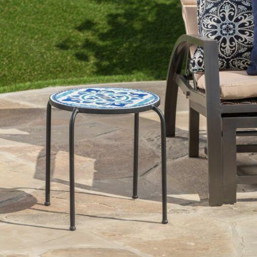 Sindarin Outdoor Blue & White Ceramic Tile Iron Frame Side Table Home & Garden