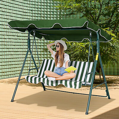 Garden 3-Person Porch Swing Lounge Chair Bench Adjustable Canopy Green