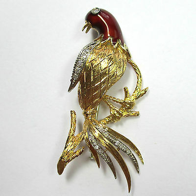 396 - Exquisite Brosche Paradiesvogel Gold 750 Emaille Diamanten 1775/453