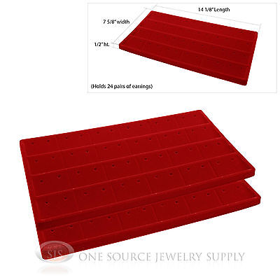 2 Red Insert Tray Liners W 24 Compartment Earrings Organizer Jewelry Display