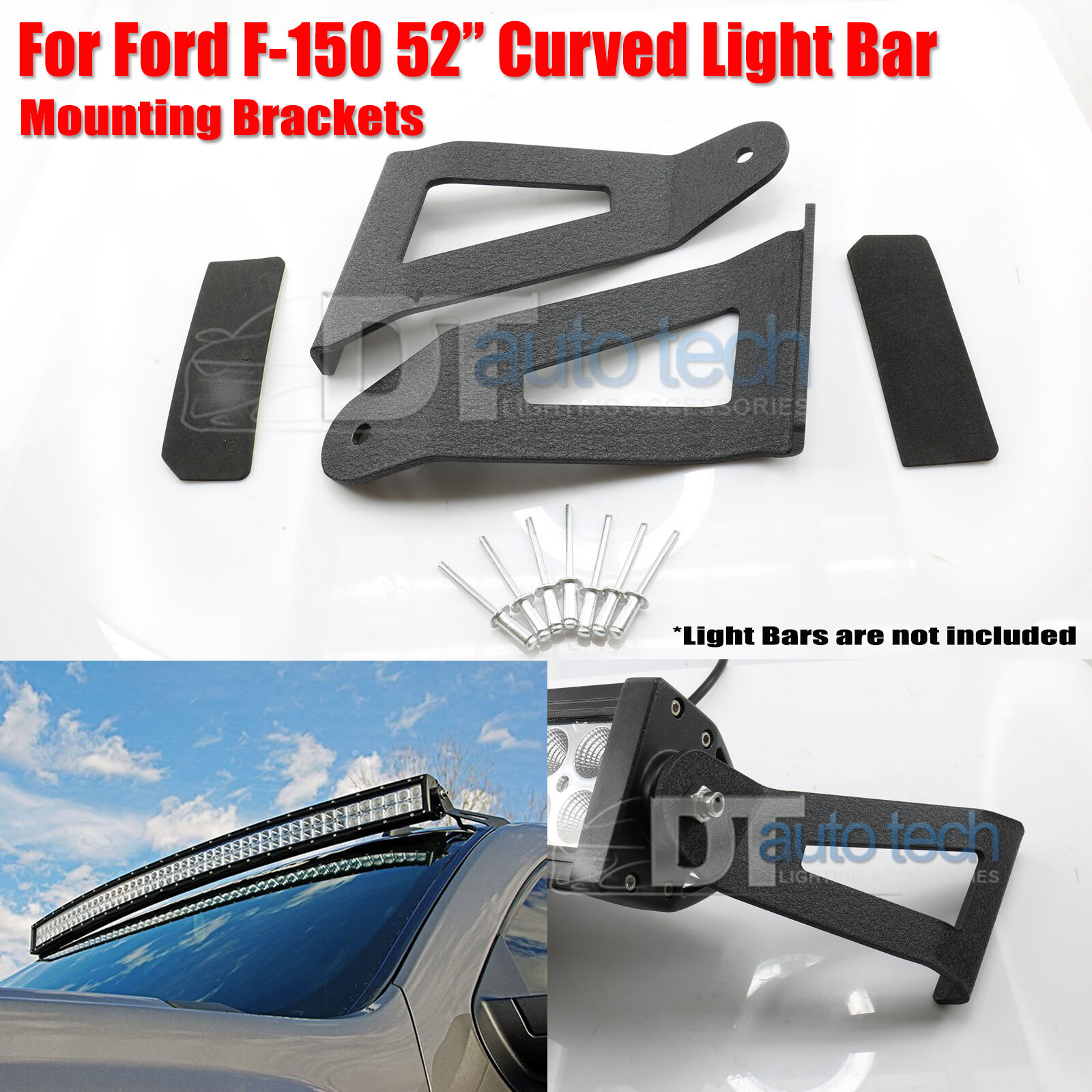 Details About 04 14 Ford F150 52 Inch Curved Led Light Bar Upper Windshield Mounting Brackets