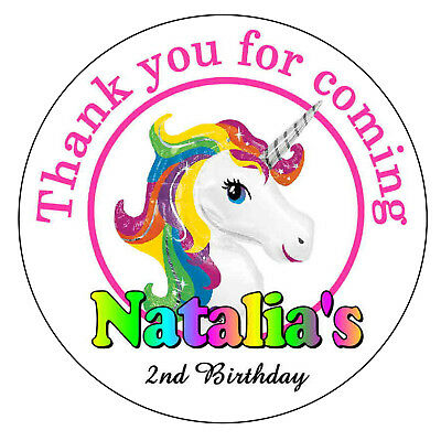 20 RAINBOW UNICORN BIRTHDAY PARTY FAVORS STICKERS ~ FOR goody bags, env seals (Unicorn Rainbows)