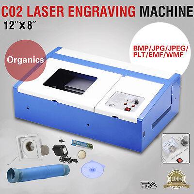 40w 12x8 Usb Co2 Laser Engraver Cutter Engraving Cutting Machine Blue
